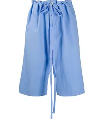 oamc drop-crotch drawstring waist shorts - blue