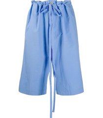 oamc drop-crotch drawstring waist shorts - blue