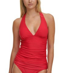 tommy hilfiger solid halter tankini top women's swimsuit
