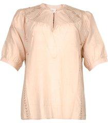 katoenen blouse birken  nude