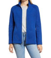 women's tommy bahama new aruba zip front stretch cotton jacket, size small - blue