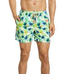 men's bugatchi tie dye nylon swim trunks, size large - green