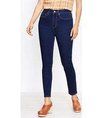 loft curvy high rise skinny jeans in rinse wash