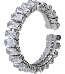 anello strass in metallo rodiato per donna