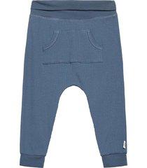 cozy rib pocket pants byxor blå müsli by green cotton