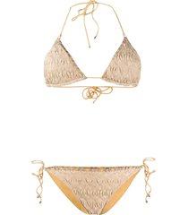missoni mare textured knit bikini - gold