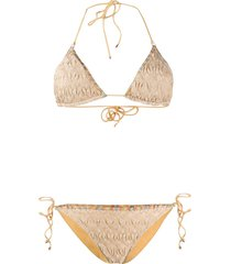 missoni mare textured knit bikini - gold