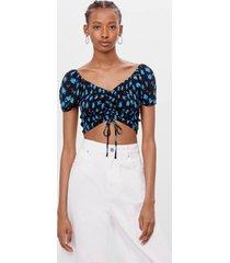 blouse met elastisch garen en print