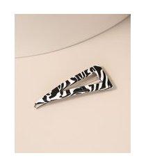 presilha de cabelo feminina estampada animal print de zebra branca