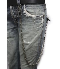 men rusty silver long wallet chain metal link keychain chunky jeans barb wire