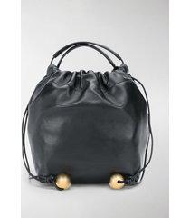 jil sander drawstring leather crossbody bag
