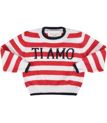 alberta ferretti red and white sweater with blue i love you writing for baby girl