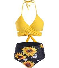 sunflower tummy control halter wrap bikini swimwear