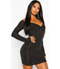 geknoopte glitter mini jurk met boothals, zwart