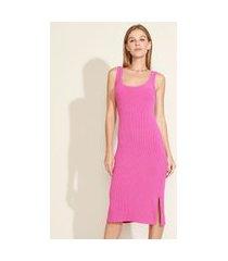 vestido feminino midi com fenda alça larga decote redondo rosa