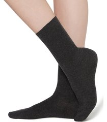 calzedonia - short socks in cotton with cashmere, 39-41, grey, women