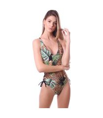 maiô simony lingerie com ilhos trilobal beach estampado preto