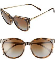 women's michael kors 55mm polarized cat eye sunglasses - dark tortoise/ brown gradient