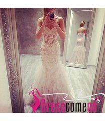 sexy mermaid sweetheart lace tulle white wedding dress long evening/prom dresses
