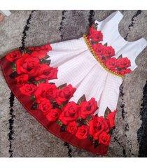 vestido flores patatitas i34 rojas