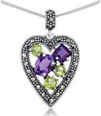 "amethyst (1-5/8 ct. t.w.) & peridot (1-1/3 ct. t.w.) marcasite heart pendant on 18"" chain in sterling silver"