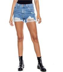 medium waist shorts con rotos color blue