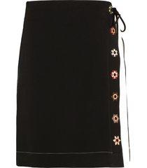tory burch contrast stitch skirt