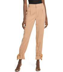 open edit tie cuff casual pants, size large in tan mocha at nordstrom