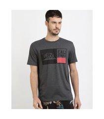 """camiseta masculina califórnia"""" manga curta gola careca cinza mescla escuro"""""""