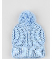 gorro infantil em tricô com lurex e pompom azul claro