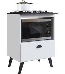 balcão c/ porta basculante para forno e cooktop 4 bocas bogotá branco artinmóveis