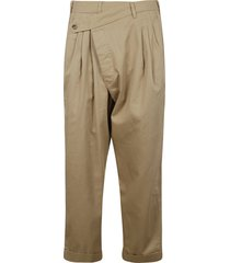 cropped triple-pleat crossover trousers