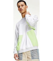 tommy hilfiger men's organic cotton colorblock sweatshirt silver grey heather / multi - xxl