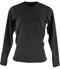 blusa térmica feminina segunda pele gola v thermo premium original slim fit - preto - kanui