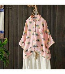 zanzea mujeres abajo de los botones florales de impresión largos tapas de la camisa de la blusa gira el collar abajo plus -rosado