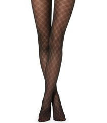 calzedonia diamond-patterned tulle effect tights woman black size 1/2