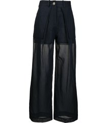 eudon choi layered wide sheer trousers - blue