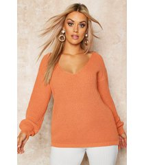 plus oversized v-neck sweater, apricot