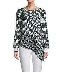 check stretch silk asymmetrical top