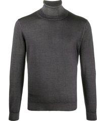 canali jersey knit high neck sweatshirt - grey