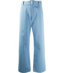 courrèges belted wide-leg trousers - blue