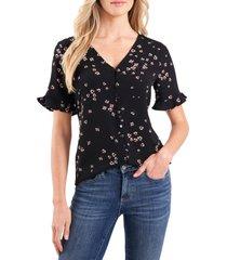 women's cece cascading floret ruffle sleeve crepe blouse, size xx-small - black
