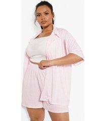 plus overhemd en shorts set, pink