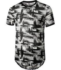 letter brush print semi sheer longline curved t shirt