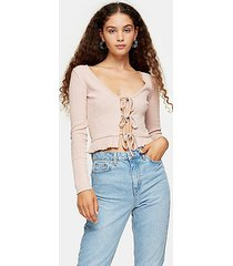 dark pink lace up cardigan - dusty pink