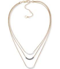"dkny tri-tone three-row frontal necklace, 16"" + 3"" extender"