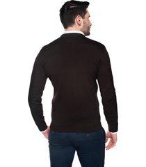 sweter bascon w serek brąz
