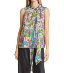 women's tanya taylor adalira tie neck sleeveless silk georgette top, size 12 - purple