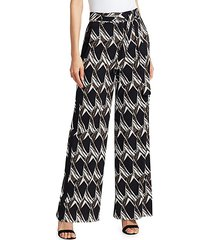 abstract floral tile stretch silk trousers