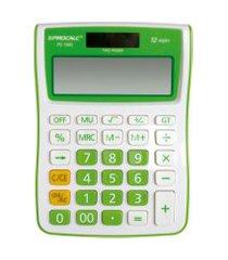 calculadora de mesa procalc pc100 gn 12 dígitos branco e verde